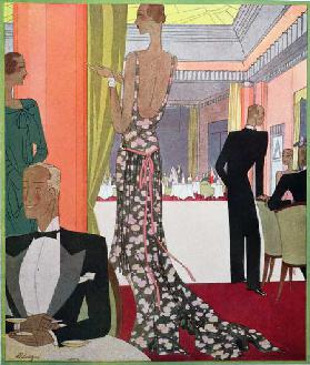 Fashion design for an evening dress by the House of Louise Boulanger at a Gala Soiree in the Casino