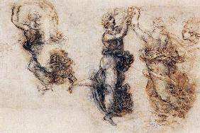 Three dancing figures and a study of a head (sepia & black ink on linen paper)