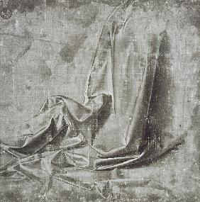 Drapery study for a kneeling figure in Profil Perdu to the right, c.1472-75 (brush & grey tempera wi