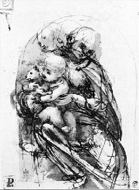 Study for a Madonna with a Cat, c.1478-80 (pen & ink over stylus underdrawing on paper)