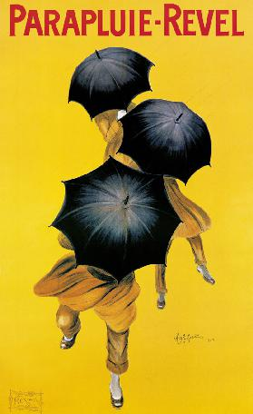 Poster advertising 'Revel' umbrellas