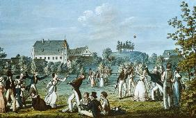 Ball Games at Atzenbrugg with Franz Schubert (1797-1828) and friends seated in the foreground