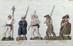 A Sans Culotte with his Pike, a Carter, a Market Porter, a Cobbler and a Carpenter (gouache on card)