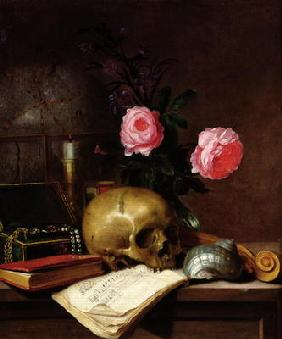 Still Life with a Skull (oil on canvas)