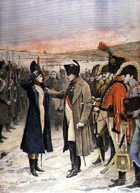 Napoleon Bonaparte (1769-1821) presenting the female officer, Marie Schellinck with a medal on the b