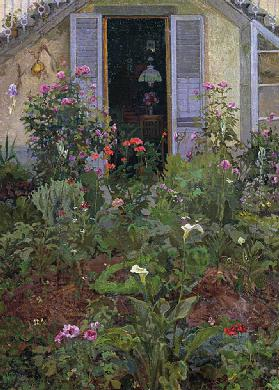 Triptych or Garden in bloom, 1907, by Llewelyn Lloyd (1879-1950), oil on canvas. Italy, 20th century