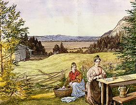 Look over a hill landscape with two women at a table.