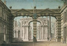Set design for the world premiere performance of ''Idomeneo'', by Wolfgang Amadeus Mozart in Munich,