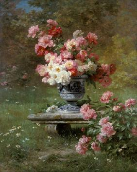 Lemaire, Louis Marie : Peonies In An Urn In A Gar...