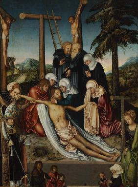 The Lamentation over Christ with Saints Wolfgang and Helena