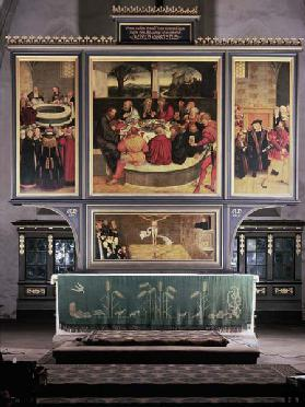 Altar with a Triptych depicting: left panel, Philipp Melanchthon (1497-1560) performing a baptism as