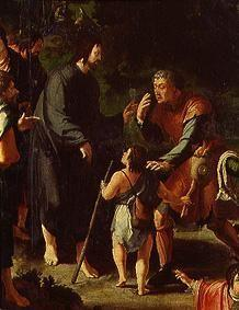 The cure of the blind man of Jericho. Detail: Christ and the blind man