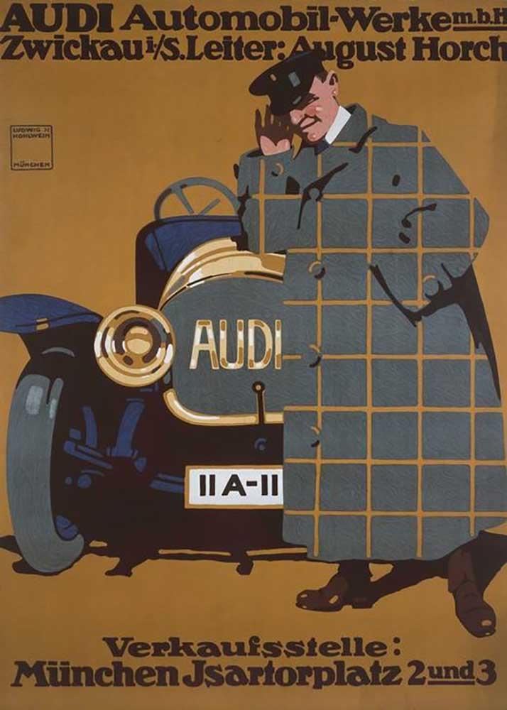 AUDI Automobil Werke m. b. H. Zwickau i. / S. Leader August Horch   Ludwig Hohlwein as art ...