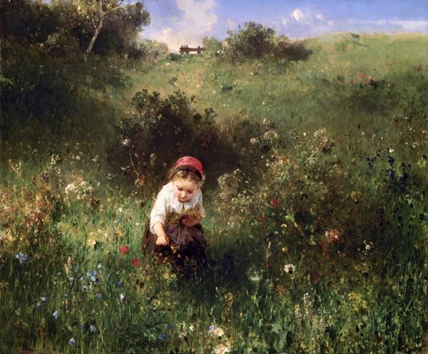 Knaus, Ludwig : A Young Girl in a Field