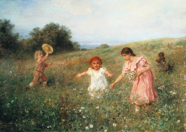 Knaus, Ludwig : In the spring meadow