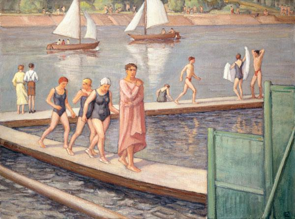 Taking a bath at the footbridge with sailing boats