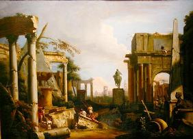 Landscape with Classical Ruins and Figures (oil on canvas)