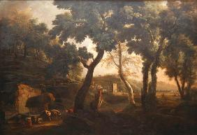 Landscape with Horses at the Trough, c.1715 (oil on canvas)