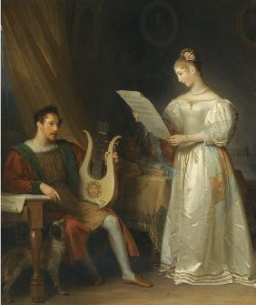 Interior with a Man holding a Lyre and a Woman with a Music Score