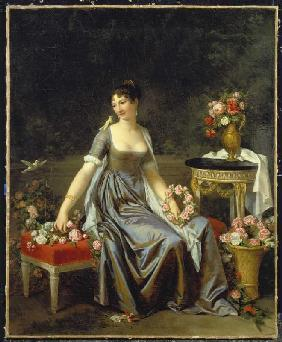 Portrait of a lady, surrounded by flowers and birds