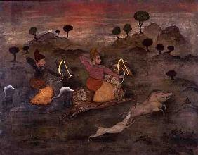 Hunting Scene (gouache and varnish on panel)
