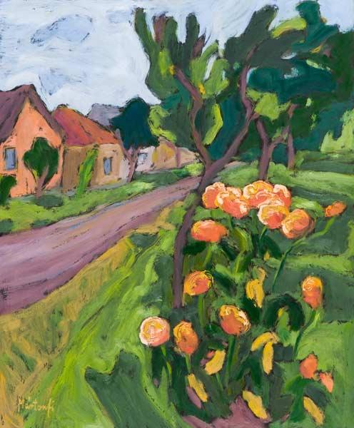 Neighbour''s Roses, 2008 (oil on board)