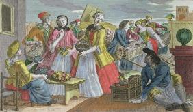 The Fruit Market (coloured engraving)