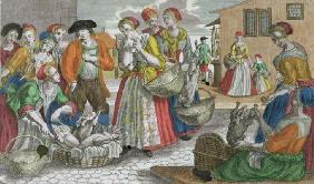 The Poultry Market (coloured engraving)
