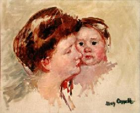Mother in Profile with Baby Cheek to Cheek (No.2)