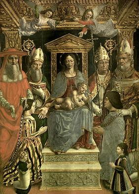 The Sforza Altarpiece, Madonna and Child enthroned with the Doctors of the Church and the family of