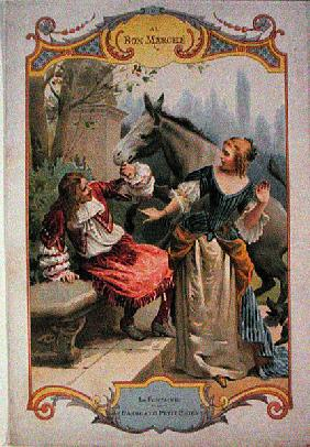 The Donkey and the Little Dog, from ''Fables'' by Jean de La Fontaine (1621-95), advertising for ''A