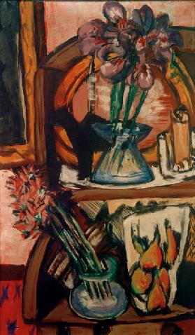 Still life with two flower vases