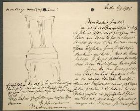 Artist's notes and sketch of a chair (ink on paper)