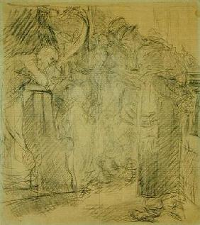 Composition sketch for Christ in the Temple (pencil on paper)