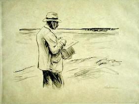 Self portrait in the open drawing (litho)