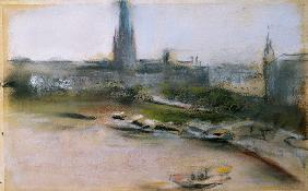 Binnenalster at the Jungfernstieg, 1909 (pastel on paper)