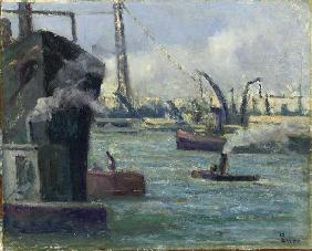 Luce, Maximilien : In the port of Rouen
