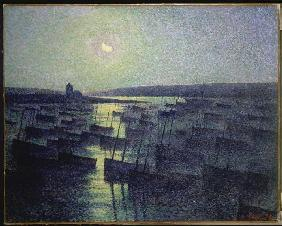 Luce, Maximilien : Moon night over the fisher...