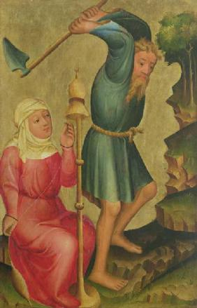 Adam and Eve at Work, detail from the Grabow Altarpiece