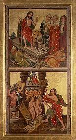 Two altar panels in the cathedral to Erfurt: Resurrection and hellish trip Christi