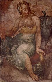 June with the peacock. Fresco fragment.