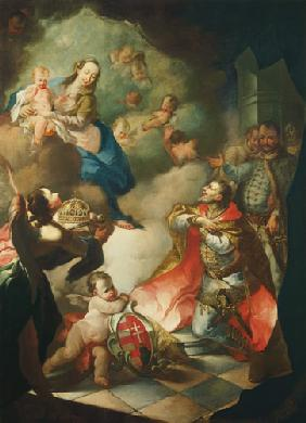 St. Stephan offers the Holy Virgin his Crown