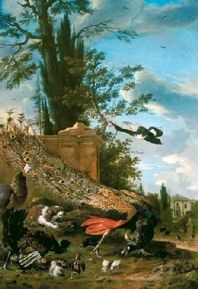 A Peacock and a Spaniel in the Garden of a Villa