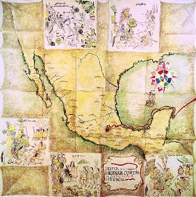 Map of the route followed Hernando Cortes (1485-1547) during the conquest of Mexico