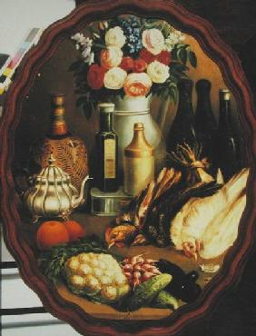 Oval Still Life with Hen, Vegetables and Vase