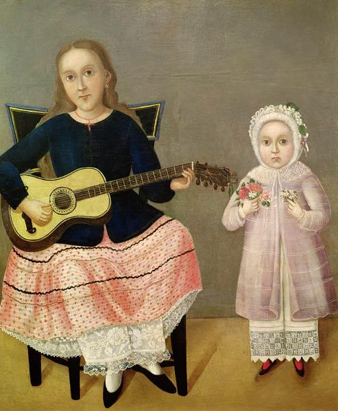 Young Girl with a Guitar and Child with a Bouquet