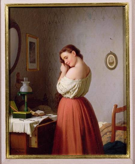 young woman plaiting her hair meyer von bremen as art print or hand painted oil. Black Bedroom Furniture Sets. Home Design Ideas