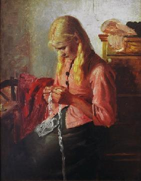 Ancher, Michael Peter : Young girl crocheting