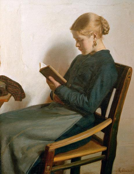 Ancher, Michael Peter : Young girl reading