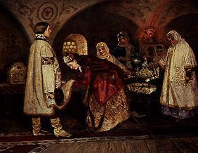 The first meeting of the Tsar Alexej Michailowitsch with his bride Sofia.